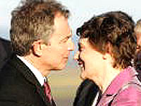 UK Prime Minister Tony Blair greets NZ Prime Minister Helen Clark during his visit to New Zealand in March 2006