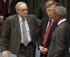 French Ambassador Jean-Marc de La Sabliere, U.S. Ambassador John Bolton and UNSG Kofi Annan (from UN Photo #115143/Ryan Brown
